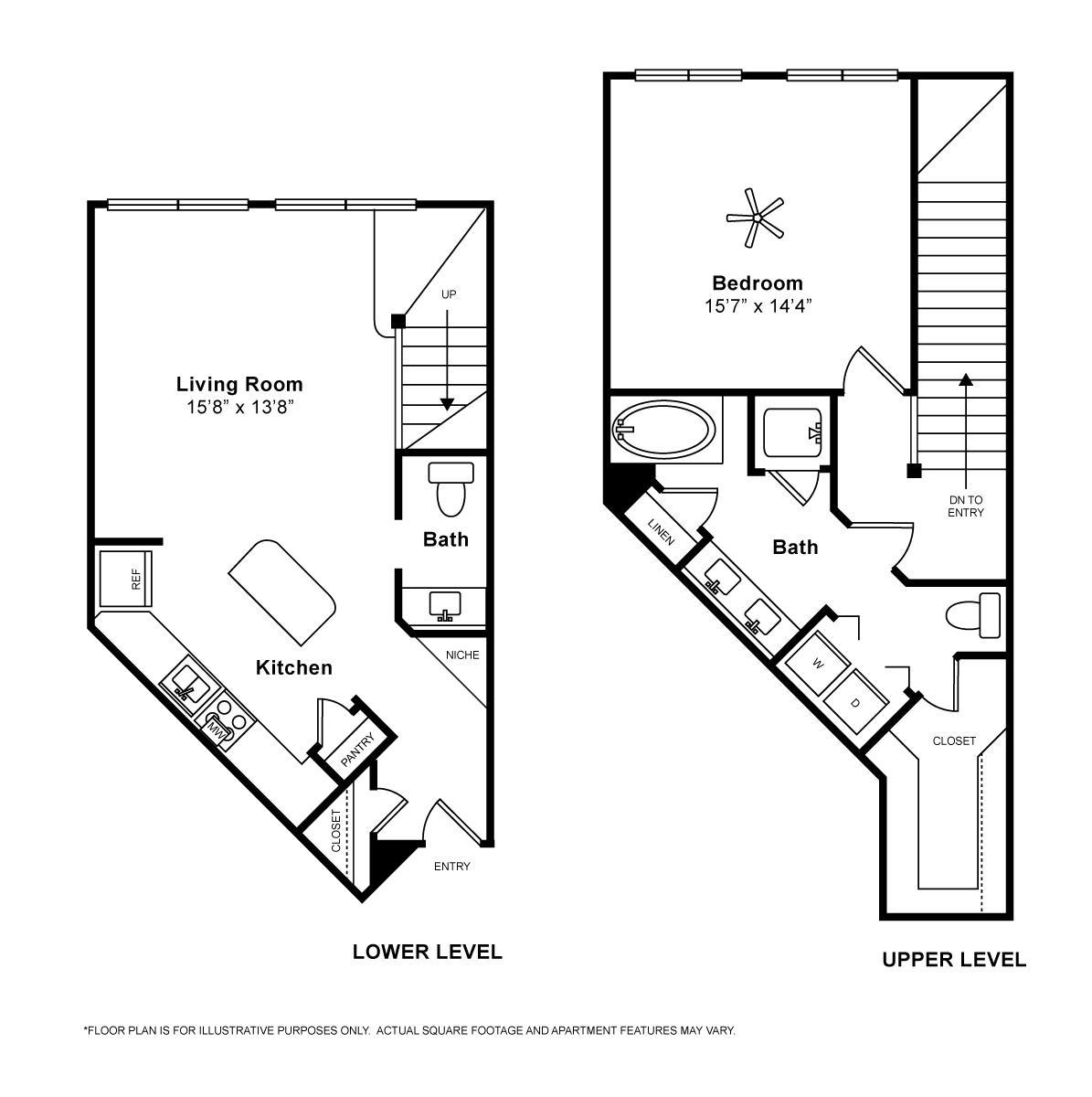 1,041 sq. ft. Pisa floor plan