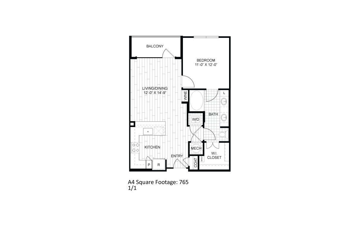 765 sq. ft. A4 floor plan