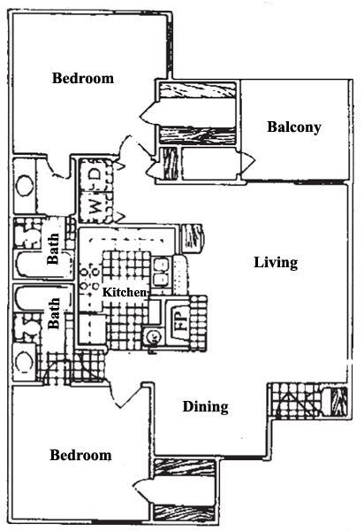 983 sq. ft. B2 floor plan