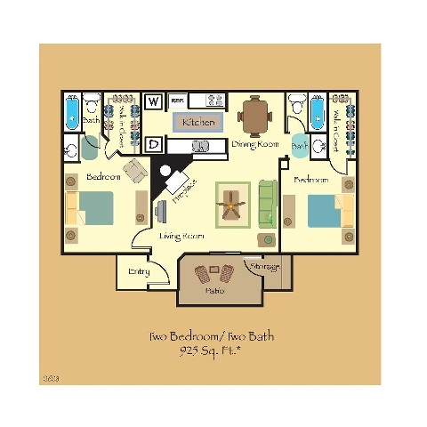 925 sq. ft. B7 floor plan