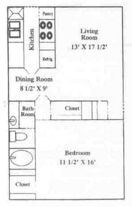 777 sq. ft. A-3 floor plan