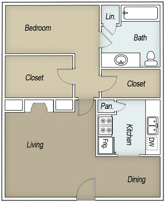 742 sq. ft. A1C floor plan