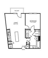 686 sq. ft. A1G floor plan