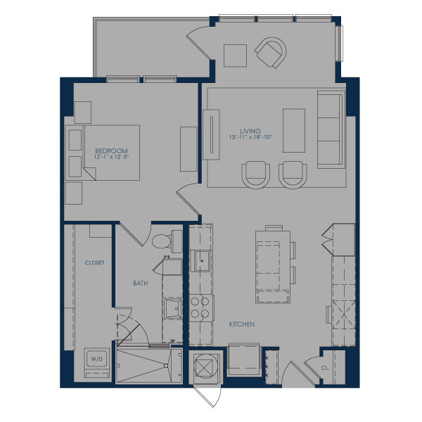 821 sq. ft. to 875 sq. ft. A27E floor plan