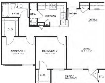 950 sq. ft. 60% floor plan