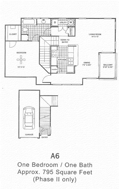 795 sq. ft. A6 floor plan
