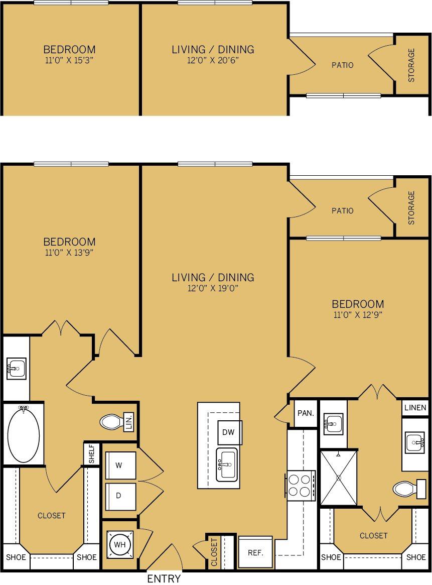 1,167 sq. ft. B2A floor plan