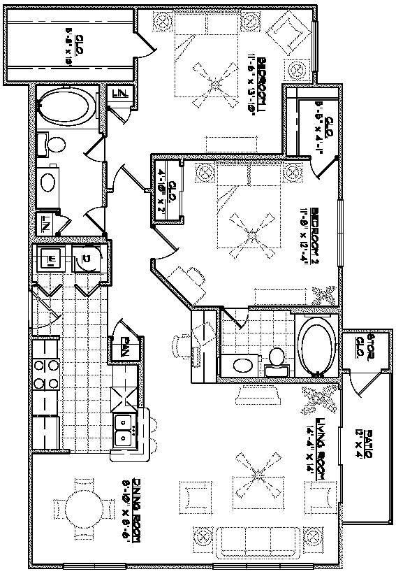 1,165 sq. ft. B2 floor plan