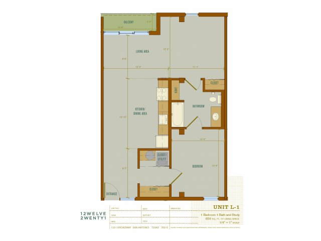 856 sq. ft. L1 floor plan