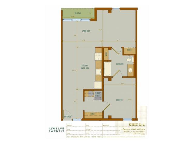 856 sq. ft. L1 floor plan