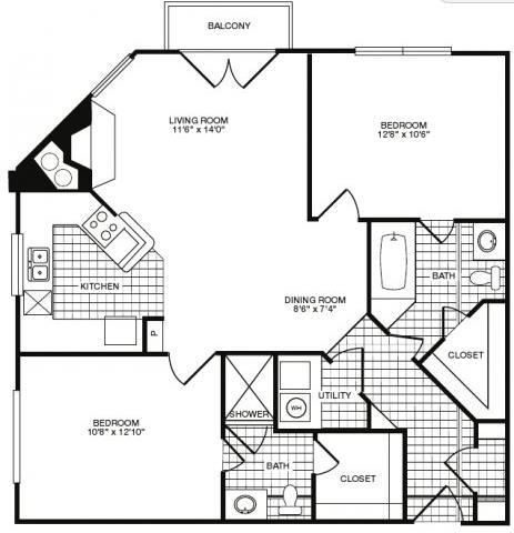991 sq. ft. floor plan