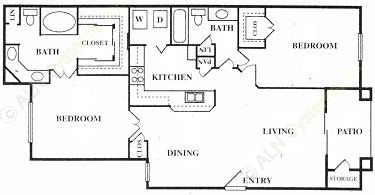 1,179 sq. ft. Hampton Court floor plan