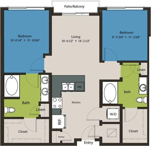 967 sq. ft. B11 floor plan