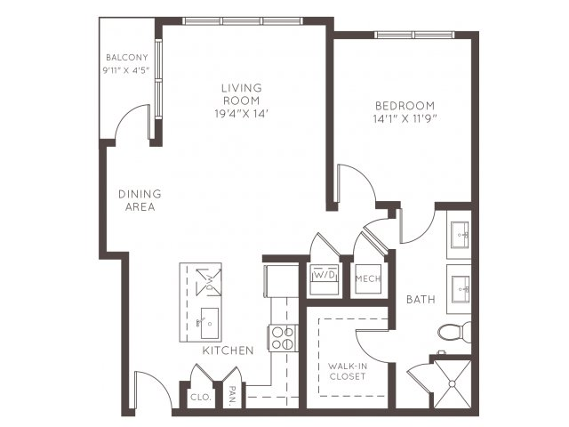 887 sq. ft. A5 floor plan