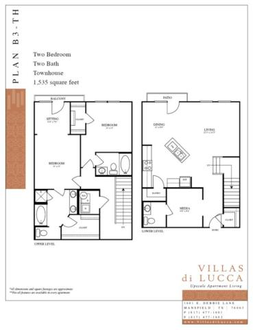 1,535 sq. ft. B3-TH floor plan