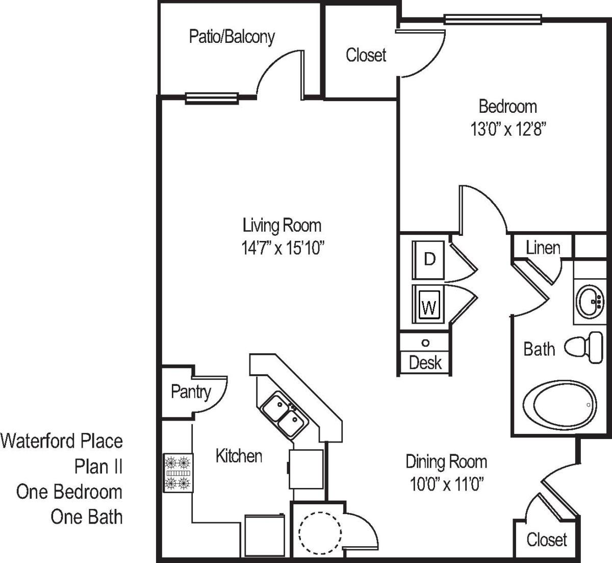 880 sq. ft. A21 floor plan