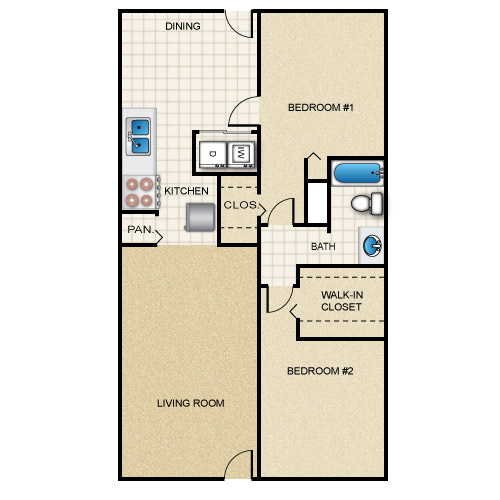 945 sq. ft. floor plan