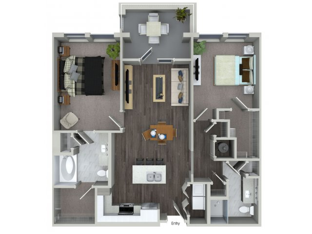 1,070 sq. ft. B1.4 floor plan