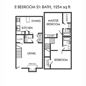 1,254 sq. ft. G floor plan