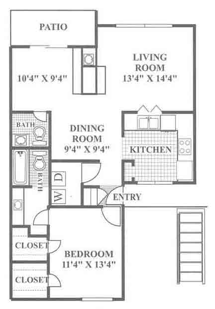897 sq. ft. Hill floor plan