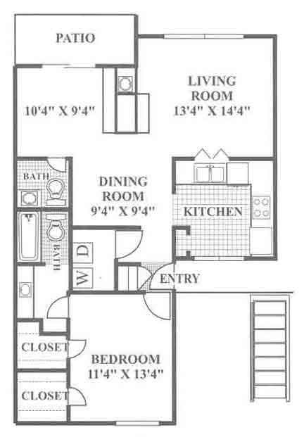 897 sq. ft. Hill floor plan