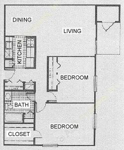 954 sq. ft. B4 floor plan
