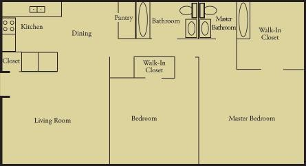 930 sq. ft. B2 floor plan