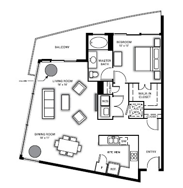 1,105 sq. ft. A6 floor plan