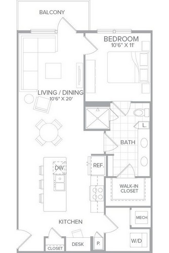 791 sq. ft. A1G floor plan