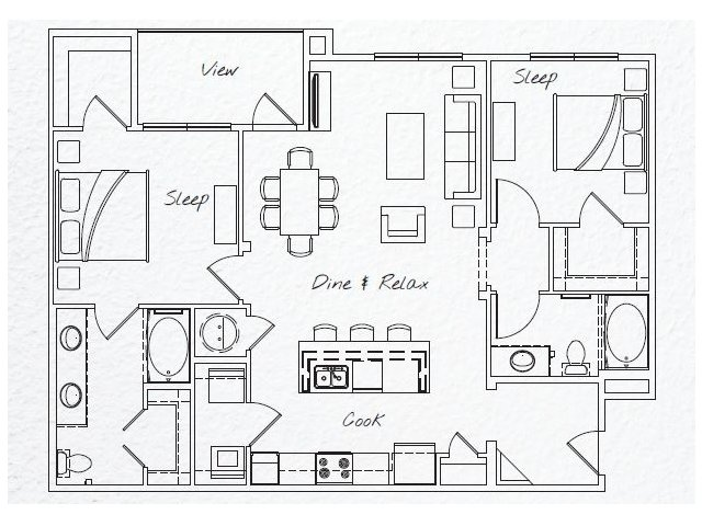 1,203 sq. ft. B2 floor plan
