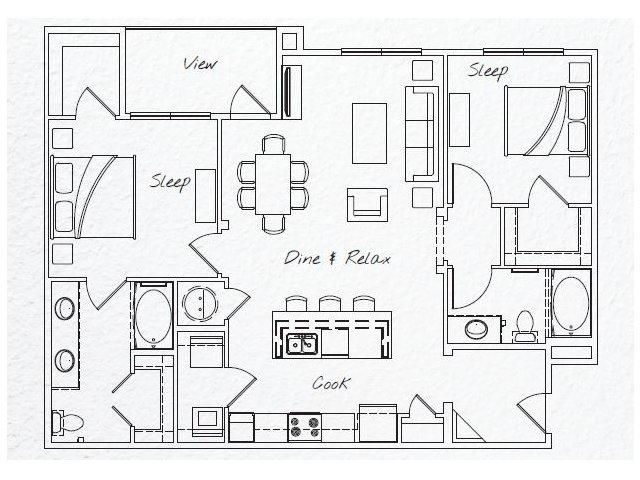 1,203 sq. ft. B2 floor plan