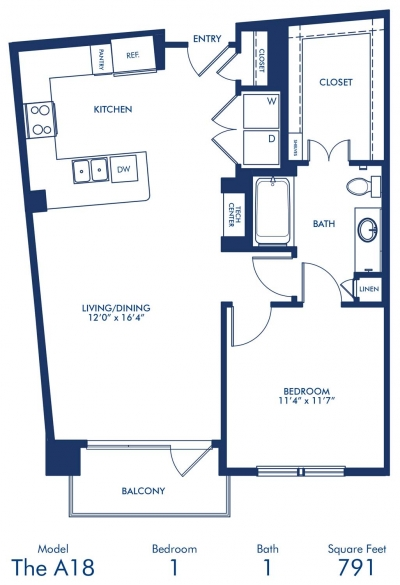 791 sq. ft. A18 floor plan