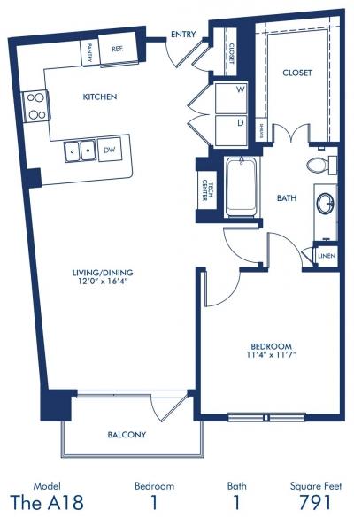 791 sq. ft. A18 floor plan