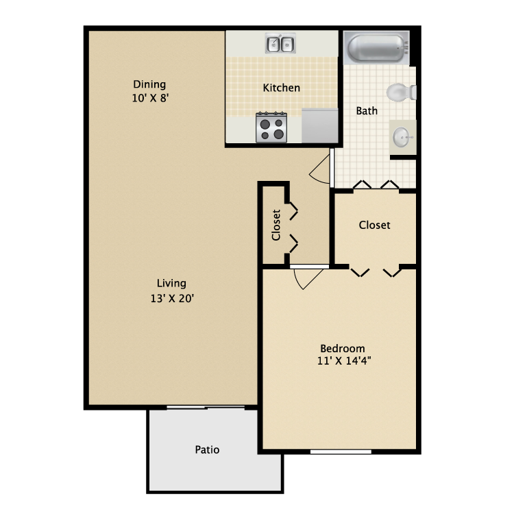 800 sq. ft. La Vida floor plan