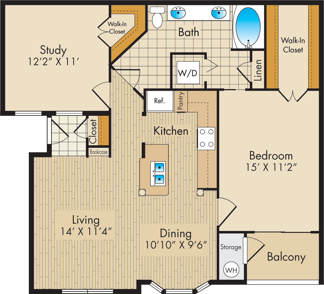 972 sq. ft. D floor plan