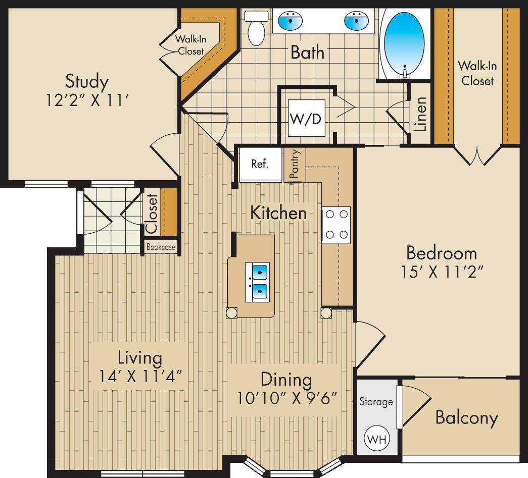 972 sq. ft. D floor plan