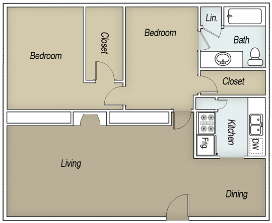 1,074 sq. ft. B1H floor plan