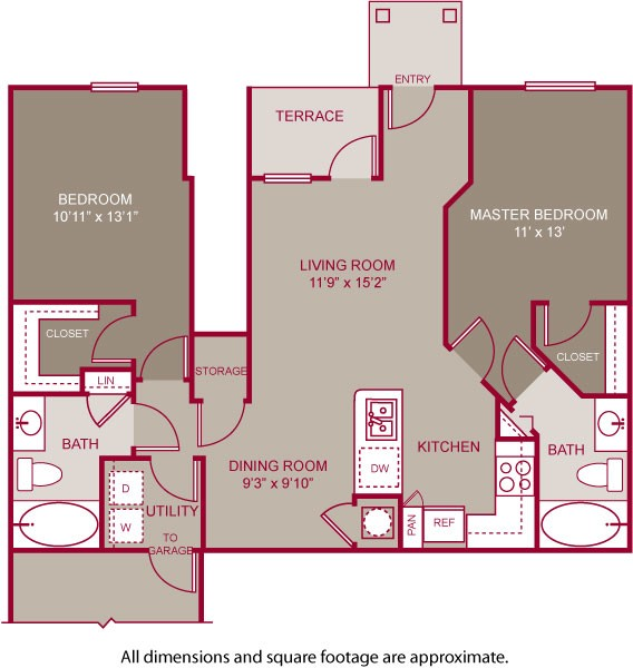 970 sq. ft. GREENE I floor plan