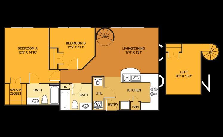 938 sq. ft. B2 floor plan