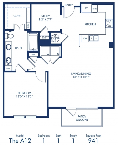 941 sq. ft. A12 floor plan