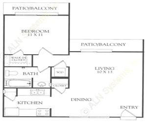 728 sq. ft. J floor plan