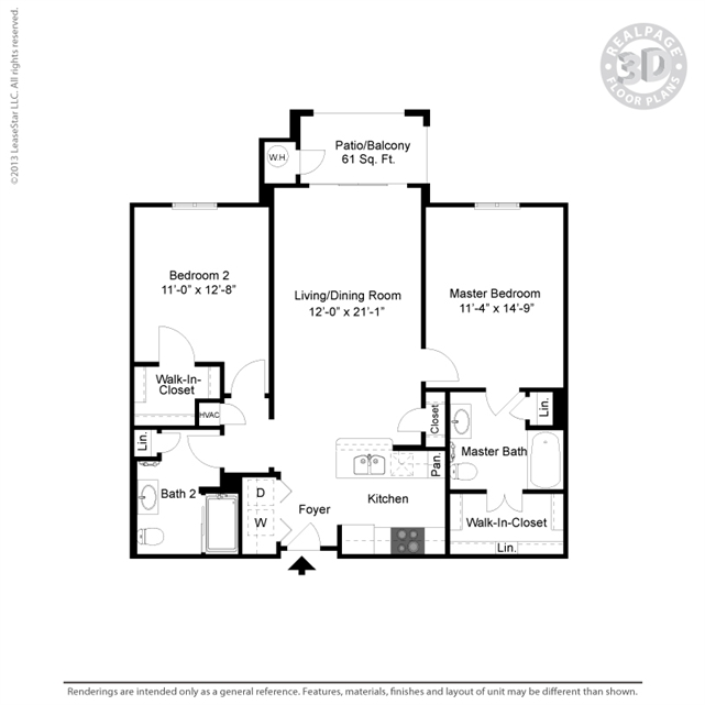 1,055 sq. ft. B4 floor plan