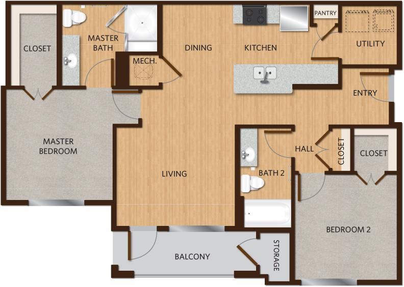 1,058 sq. ft. C1 floor plan