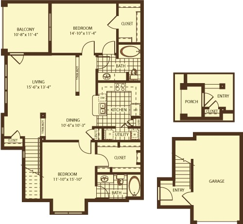 1,305 sq. ft. Milton w/G floor plan