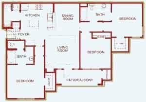 1,395 sq. ft. GREENBRIER floor plan