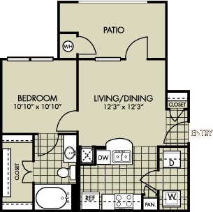 553 sq. ft. BLUEBONNETT floor plan