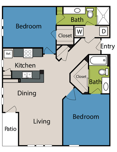 1,192 sq. ft. to 1,370 sq. ft. floor plan
