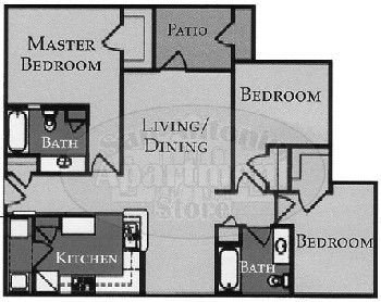 1,127 sq. ft. Charlston/60% floor plan