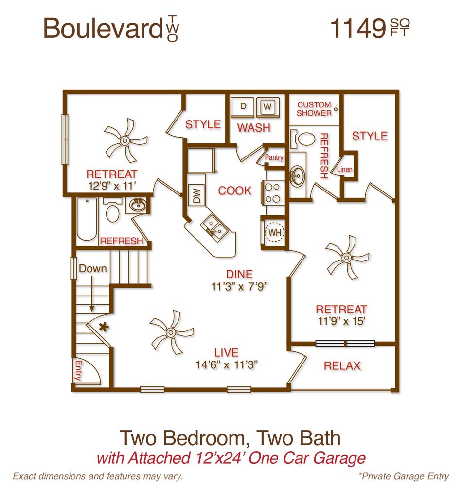 1,149 sq. ft. B1 floor plan