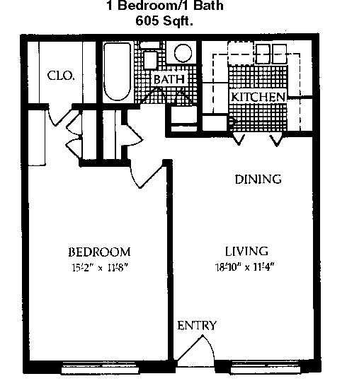 605 sq. ft. B floor plan